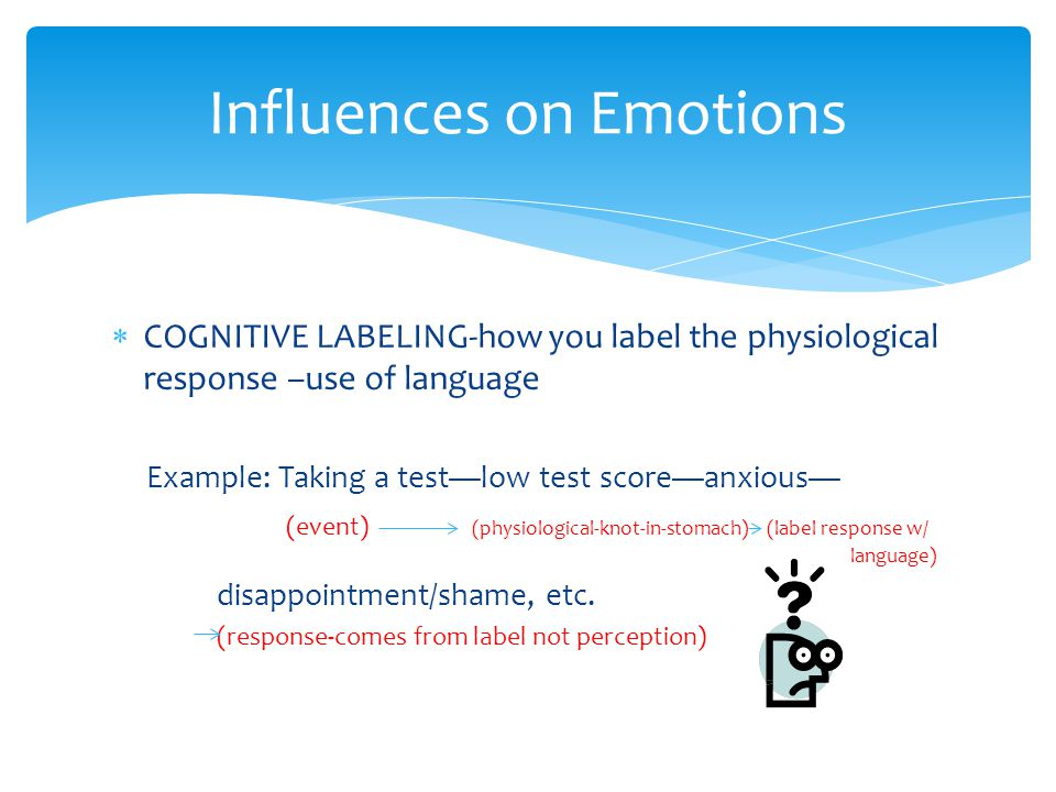  COGNITIVE LABELING-how you label the physiological response –use of language Example: Taking a test—low test score—anxious— (event) (physiological-knot-in-stomach) (label response w/ language) disappointment/shame, etc.