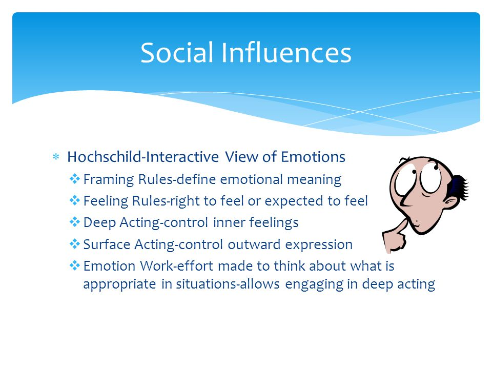  Hochschild-Interactive View of Emotions  Framing Rules-define emotional meaning  Feeling Rules-right to feel or expected to feel  Deep Acting-control inner feelings  Surface Acting-control outward expression  Emotion Work-effort made to think about what is appropriate in situations-allows engaging in deep acting Social Influences