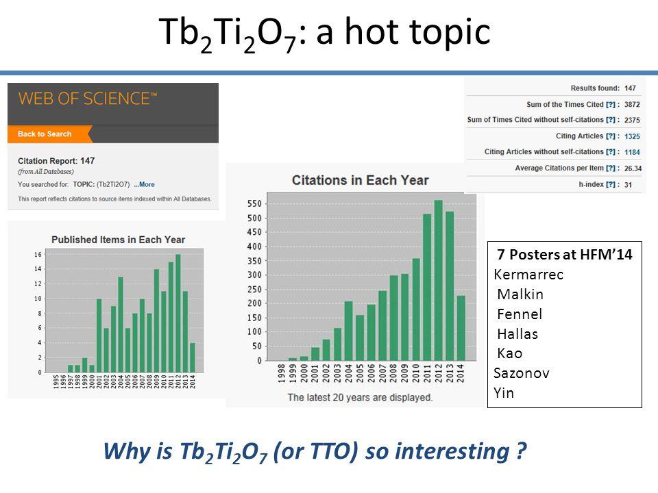 Tb 2 Ti 2 O 7 : a hot topic Why is Tb 2 Ti 2 O 7 (or TTO) so interesting .
