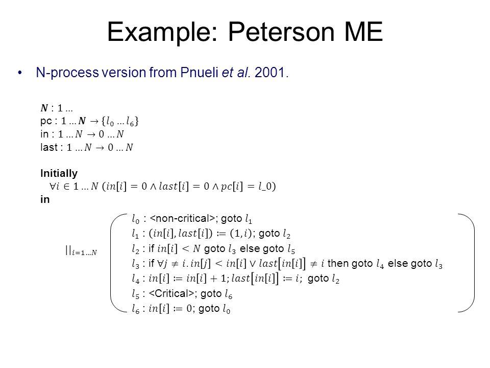 Example: Peterson ME N-process version from Pnueli et al. 2001.