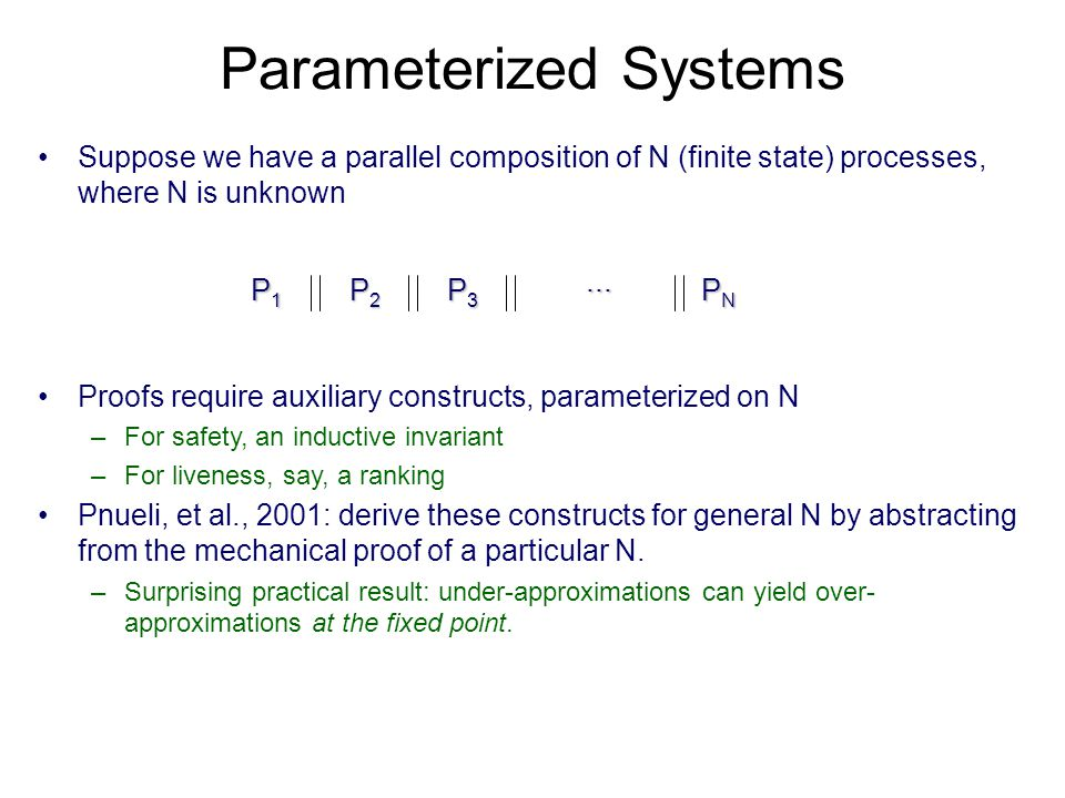 Parameterized Systems Suppose we have a parallel composition of N (finite state) processes, where N is unknown P1P1P1P1 P2P2P2P2 P3P3P3P3 PNPNPNPN...