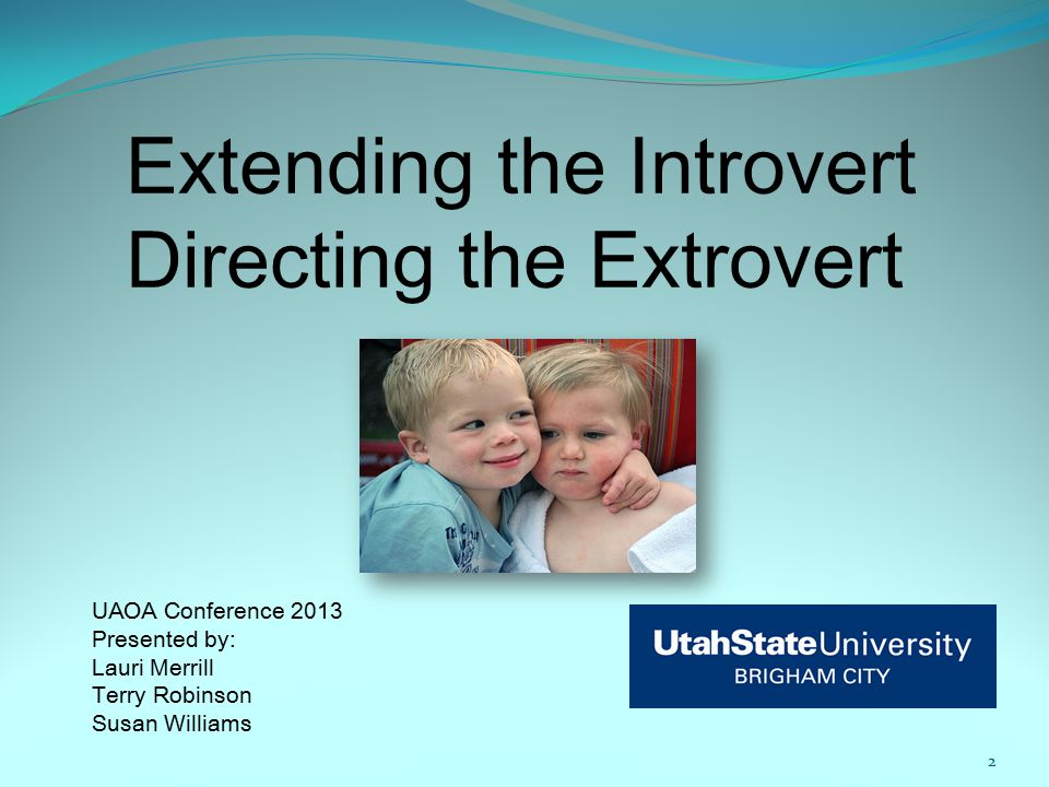 Extending the Introvert Directing the Extrovert UAOA Conference 2013 Presented by: Lauri Merrill Terry Robinson Susan Williams 2