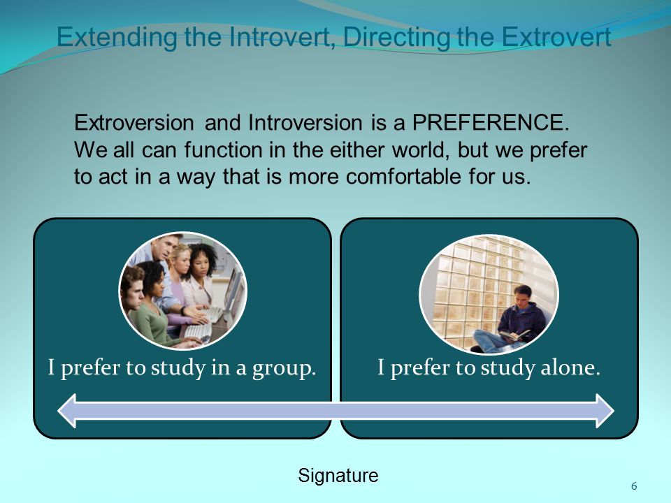 Extending the Introvert, Directing the Extrovert Extroversion and Introversion is a PREFERENCE.