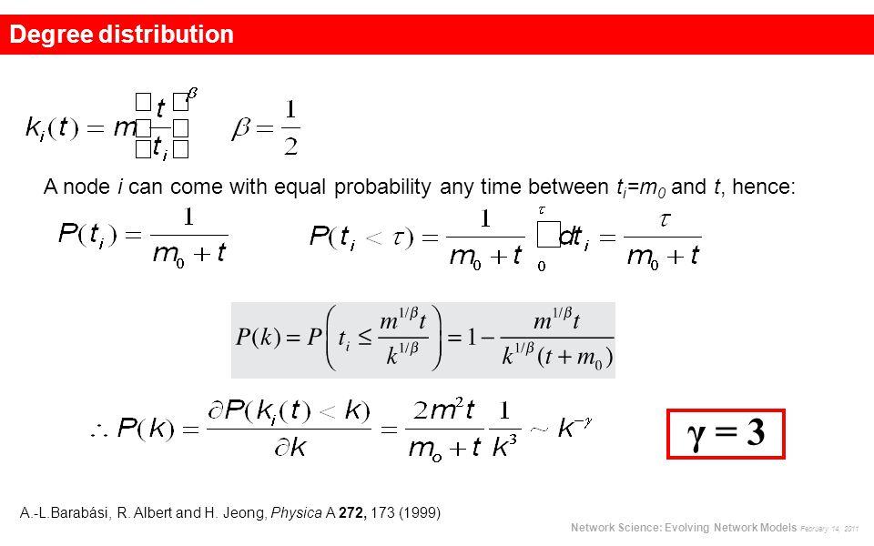 γ = 3 A.-L.Barabási, R. Albert and H. Jeong, Physica A 272, 173 (1999) Network Science: Evolving Network Models February 14, 2011 Degree distribution