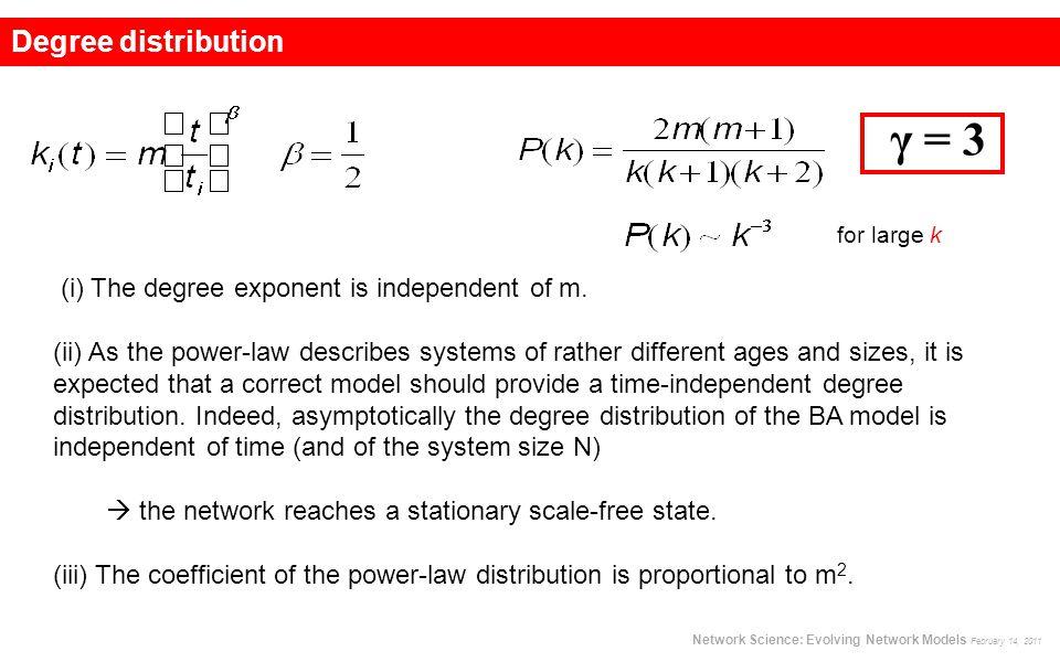 γ = 3 Network Science: Evolving Network Models February 14, 2011 Degree distribution (i) The degree exponent is independent of m. (ii) As the power-la
