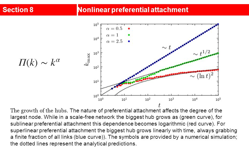 Section 8Nonlinear preferential attachment The growth of the hubs. The nature of preferential attachment affects the degree of the largest node. While