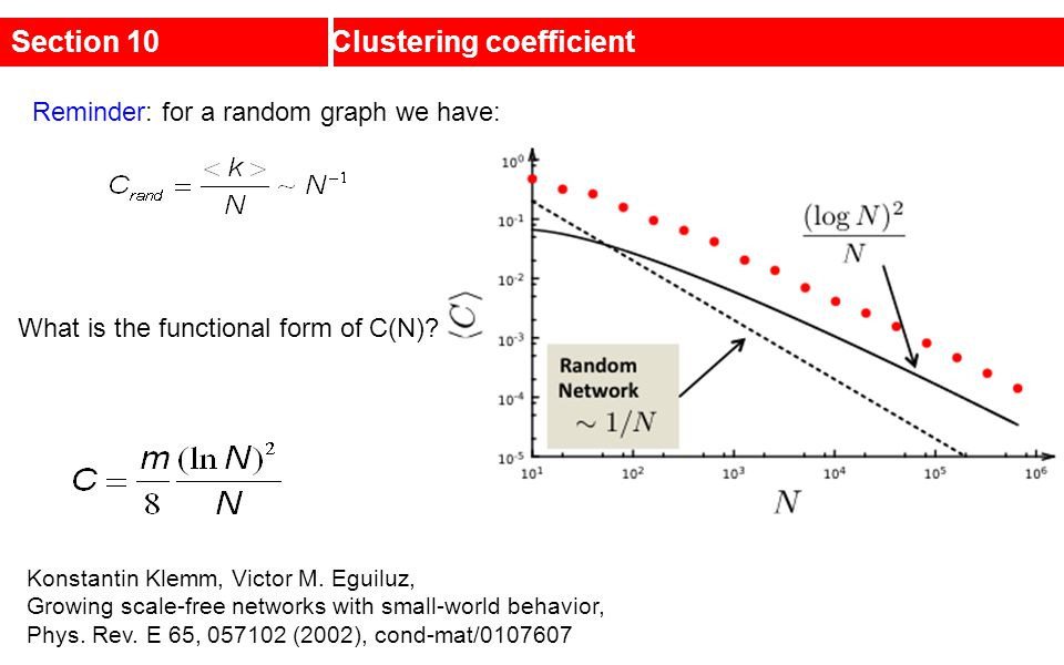 Section 10Clustering coefficient What is the functional form of C(N)? Reminder: for a random graph we have: Konstantin Klemm, Victor M. Eguiluz, Growi