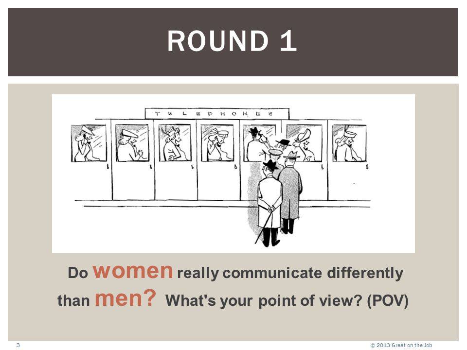 © 2013 Great on the Job3 Do women really communicate differently than men.
