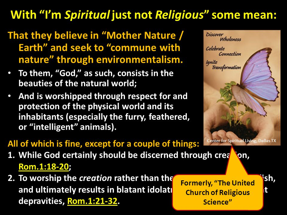 With I'm Spiritual just not Religious some mean: That they believe in Mother Nature / Earth and seek to commune with nature through environmentalism.