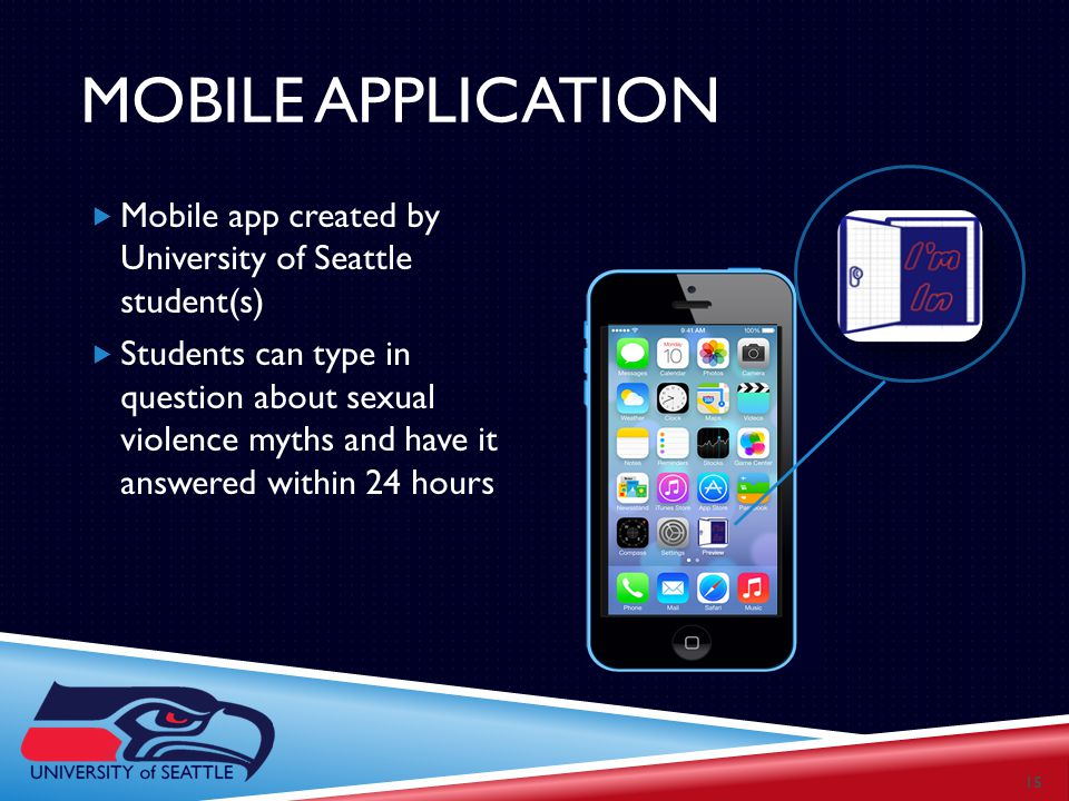 MOBILE APPLICATION  Mobile app created by University of Seattle student(s)  Students can type in question about sexual violence myths and have it answered within 24 hours 15