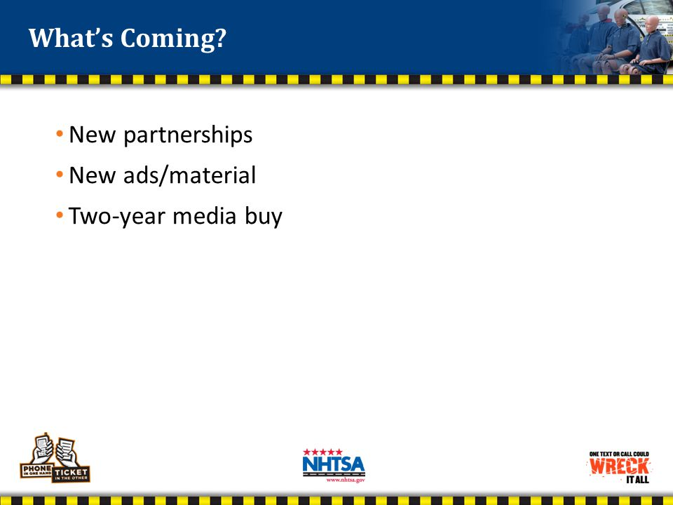 New partnerships New ads/material Two-year media buy What's Coming?