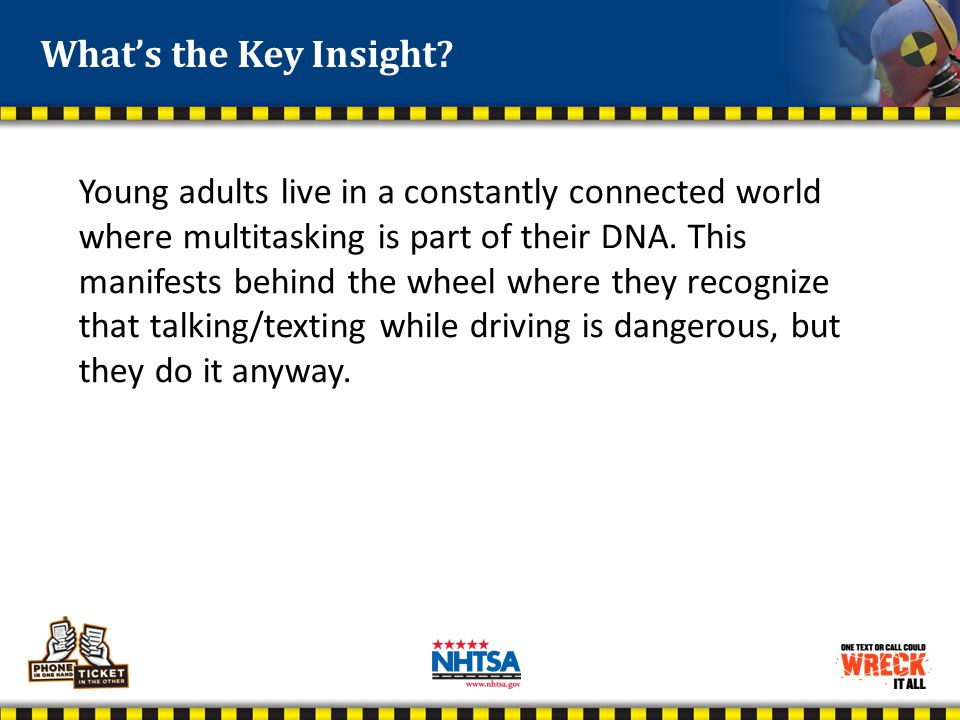 Young adults live in a constantly connected world where multitasking is part of their DNA. This manifests behind the wheel where they recognize that t