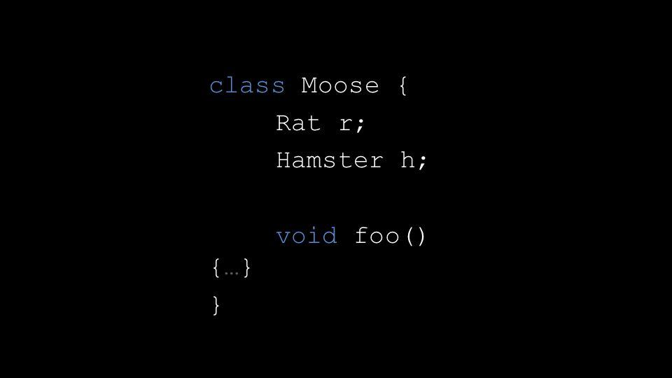 class Moose { Rat r; Hamster h; void foo() {…} }