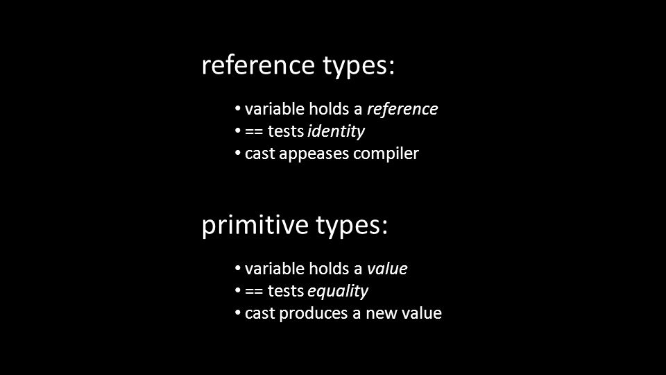 primitive types: variable holds a value == tests equality cast produces a new value reference types: variable holds a reference == tests identity cast appeases compiler
