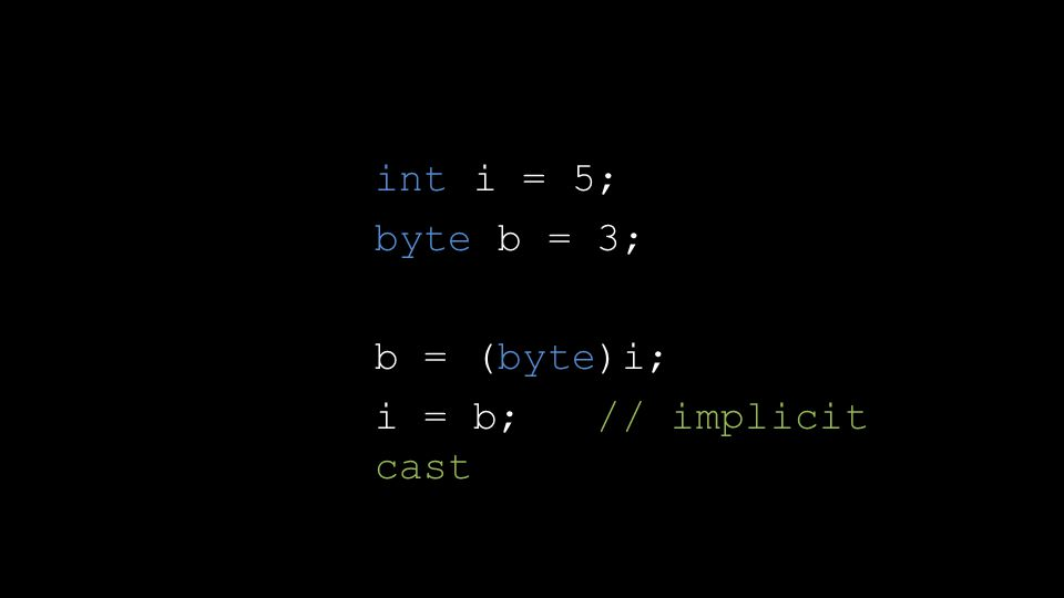 int i = 5; byte b = 3; b = (byte)i; i = b; // implicit cast