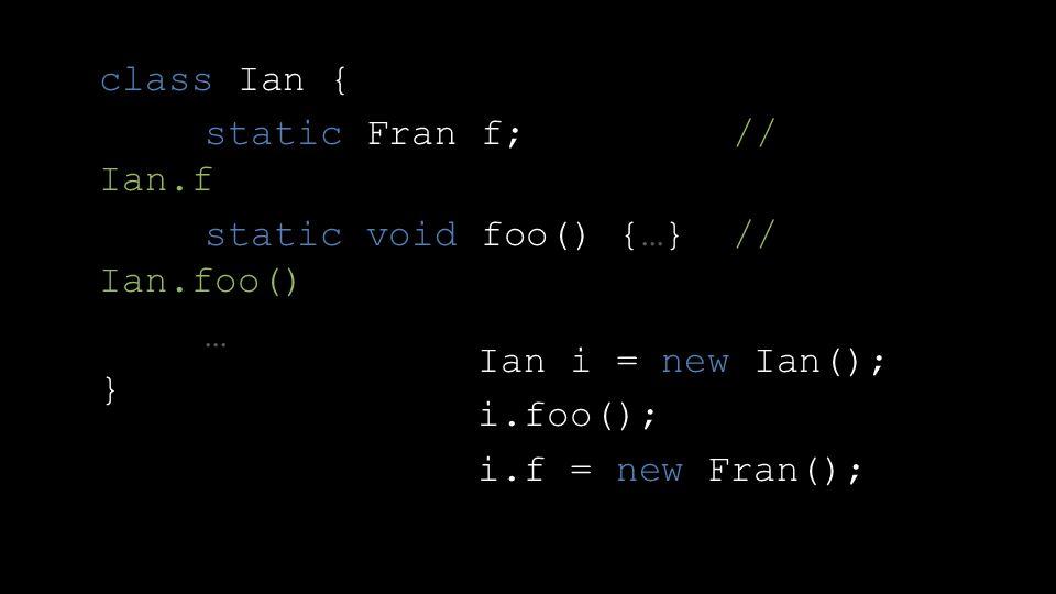 class Ian { static Fran f; // Ian.f static void foo() {…} // Ian.foo() … } Ian i = new Ian(); i.foo(); i.f = new Fran();