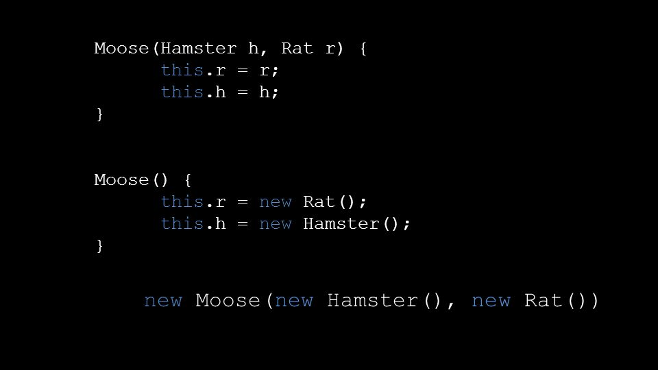 Moose(Hamster h, Rat r) { this.r = r; this.h = h; } Moose() { this.r = new Rat(); this.h = new Hamster(); } new Moose(new Hamster(), new Rat())