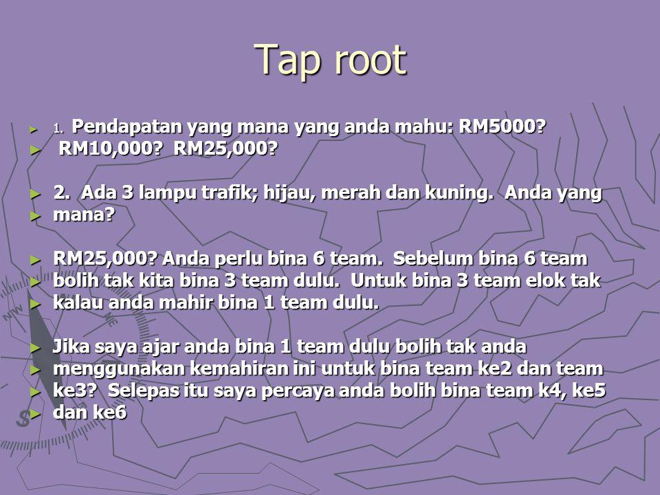 Tap root ► 1. Pendapatan yang mana yang anda mahu: RM5000? ► RM10,000? RM25,000? ► 2. Ada 3 lampu trafik; hijau, merah dan kuning. Anda yang ► mana? ►
