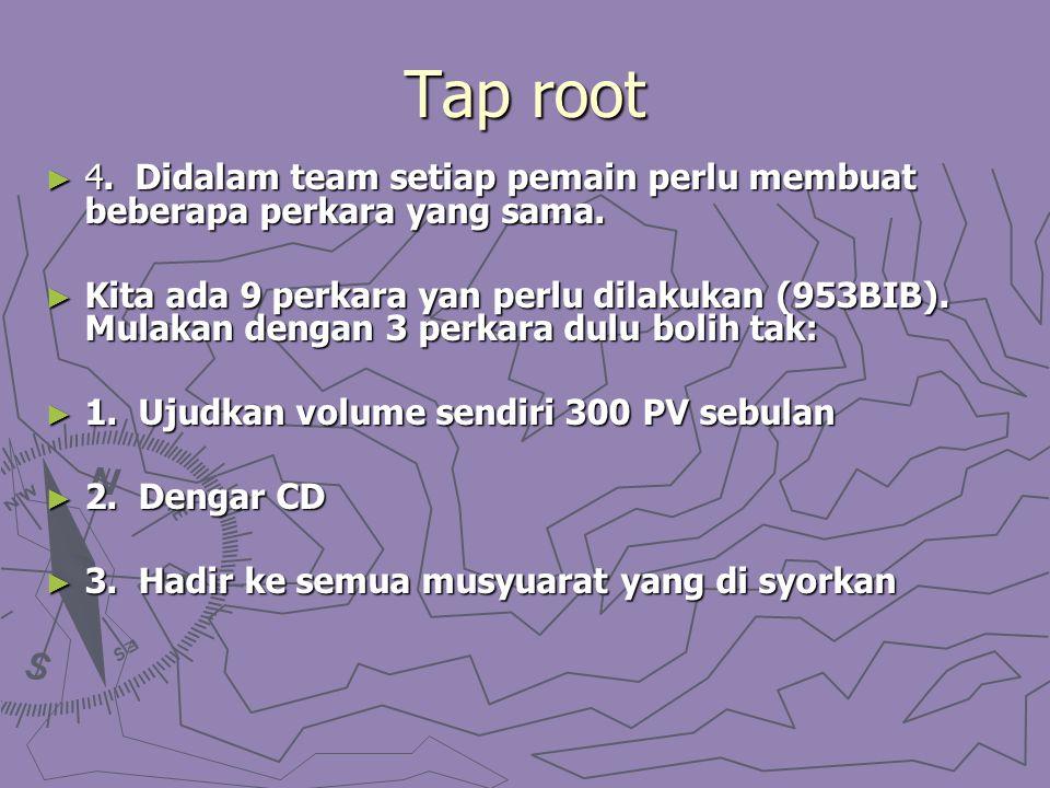 Tap root ► 4. Didalam team setiap pemain perlu membuat beberapa perkara yang sama. ► Kita ada 9 perkara yan perlu dilakukan (953BIB). Mulakan dengan 3