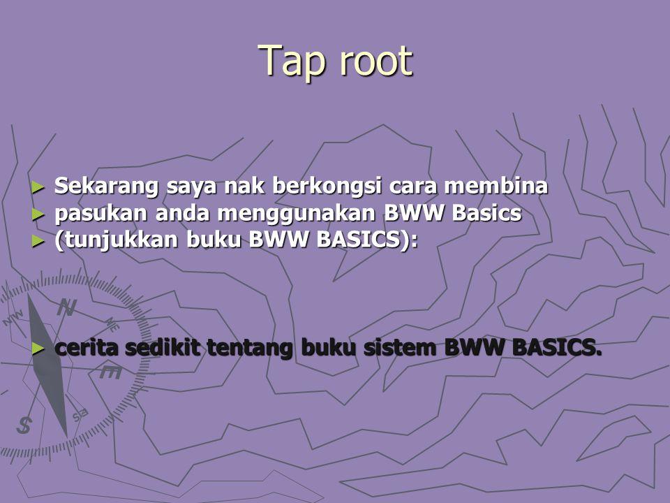Tap root ► Sekarang saya nak berkongsi cara membina ► pasukan anda menggunakan BWW Basics ► (tunjukkan buku BWW BASICS): ► cerita sedikit tentang buku sistem BWW BASICS.