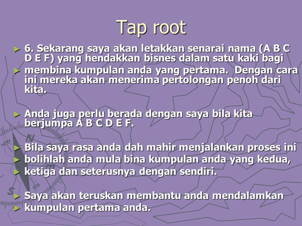 Tap root ► 6. Sekarang saya akan letakkan senarai nama (A B C D E F) yang hendakkan bisnes dalam satu kaki bagi ► membina kumpulan anda yang pertama.