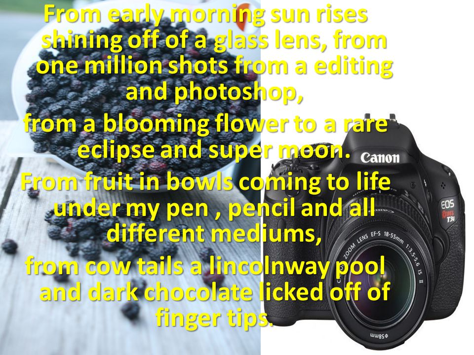 From early morning sun rises shining off of a glass lens, from one million shots from a editing and photoshop, from a blooming flower to a rare eclipse and super moon.
