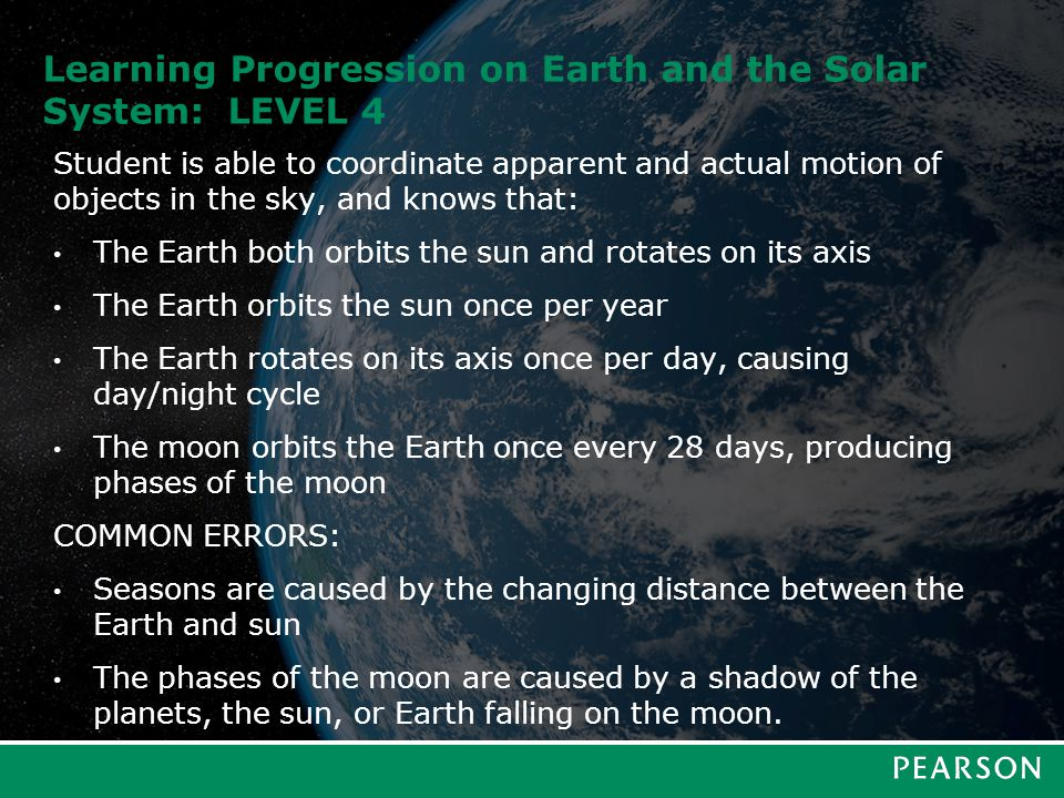 Learning Progression on Earth and the Solar System: LEVEL 4 Student is able to coordinate apparent and actual motion of objects in the sky, and knows