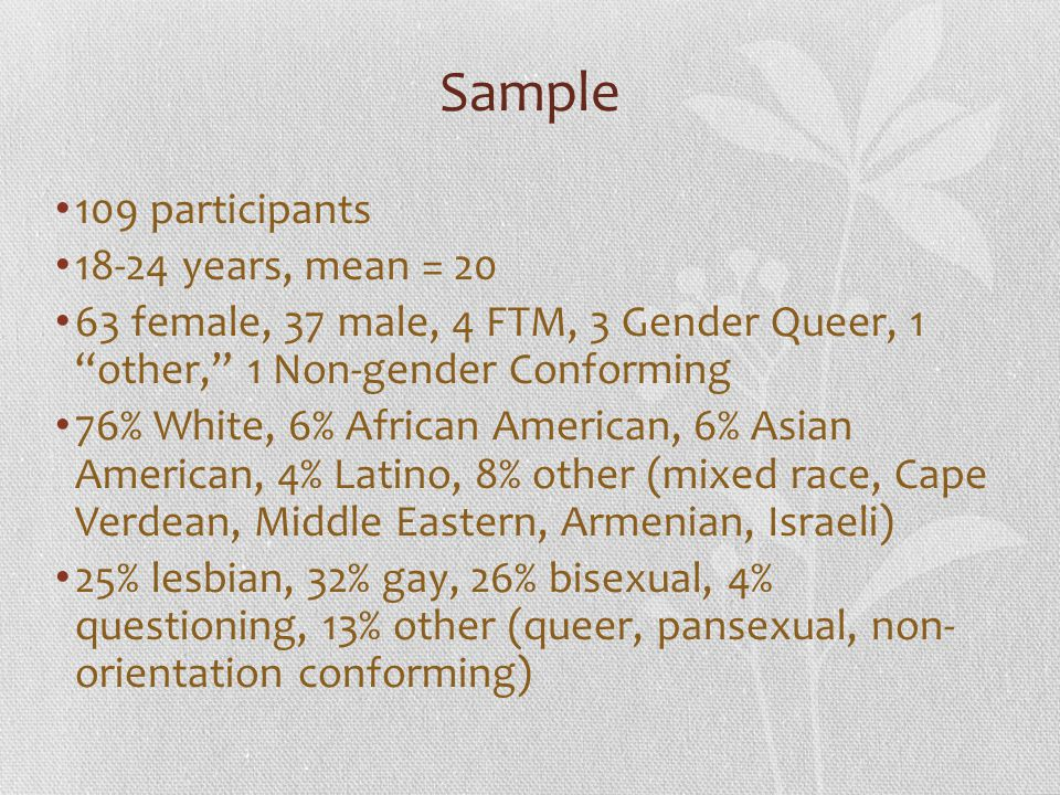 """Sample 109 participants 18-24 years, mean = 20 63 female, 37 male, 4 FTM, 3 Gender Queer, 1 """"other,"""" 1 Non-gender Conforming 76% White, 6% African Ame"""