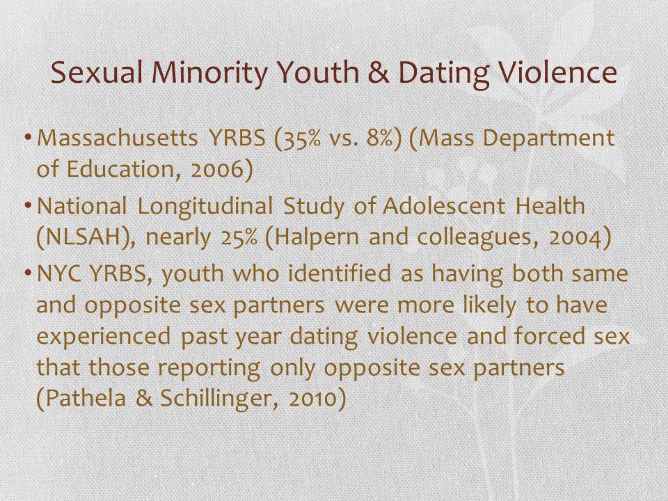 Sexual Minority Youth & Dating Violence Massachusetts YRBS (35% vs. 8%) (Mass Department of Education, 2006) National Longitudinal Study of Adolescent