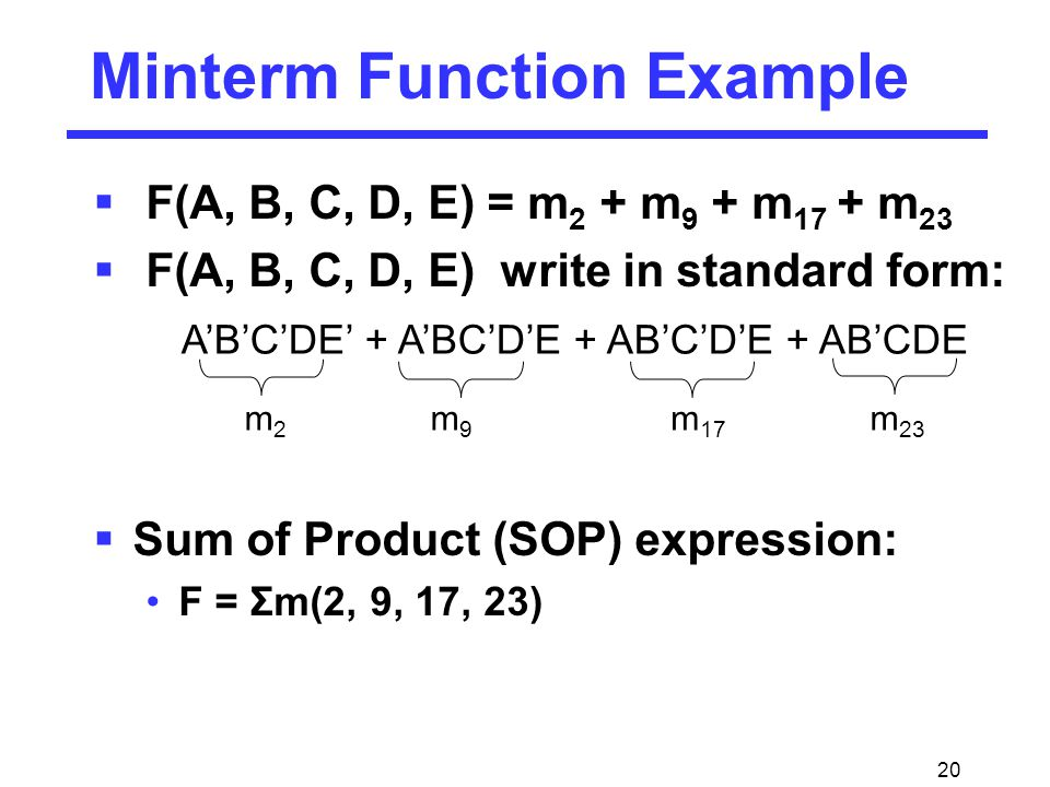 20 Minterm Function Example  F(A, B, C, D, E) = m 2 + m 9 + m 17 + m 23  F(A, B, C, D, E) write in standard form:  Sum of Product (SOP) expression: F = Σm(2, 9, 17, 23) A'B'C'DE' + A'BC'D'E + AB'C'D'E + AB'CDE m2m2 m9m9 m 17 m 23