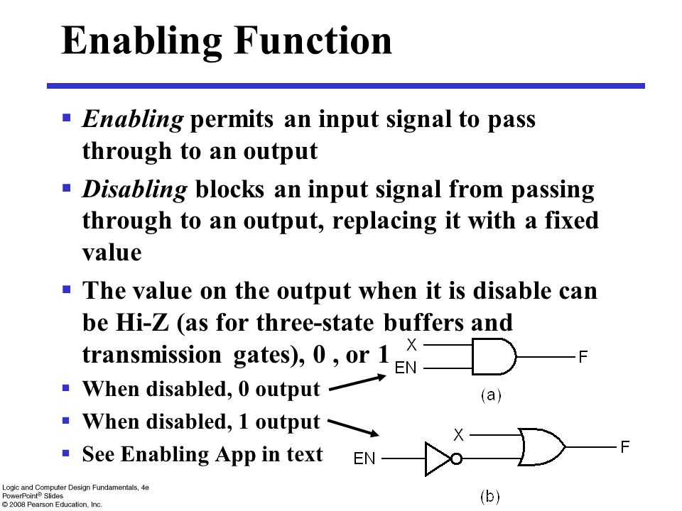 Enabling Function  Enabling permits an input signal to pass through to an output  Disabling blocks an input signal from passing through to an output, replacing it with a fixed value  The value on the output when it is disable can be Hi-Z (as for three-state buffers and transmission gates), 0, or 1  When disabled, 0 output  When disabled, 1 output  See Enabling App in text