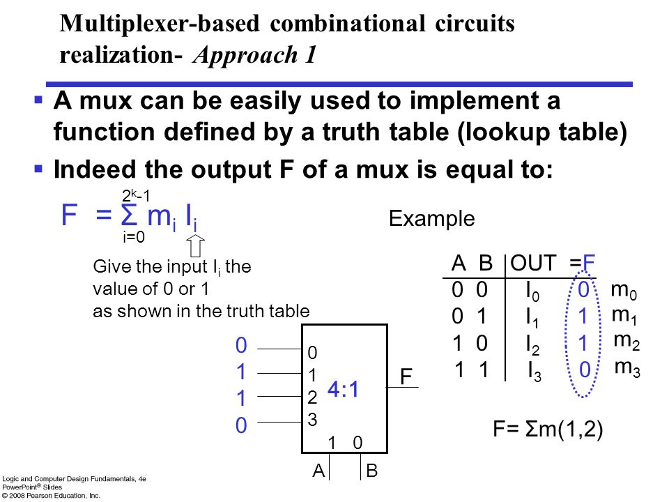 Multiplexer-based combinational circuits realization- Approach 1  A mux can be easily used to implement a function defined by a truth table (lookup table)  Indeed the output F of a mux is equal to: F = Σ m i I i i=0 2 k -1 Give the input I i the value of 0 or 1 as shown in the truth table 4:1 01230123 1 0 F 01100110 A B Example A B OUT =F 0 0 I 0 0 0 1 I 1 1 1 0 I 2 1 1 1 I 3 0 m0m0 m1m1 m2m2 m3m3 F= Σm(1,2)