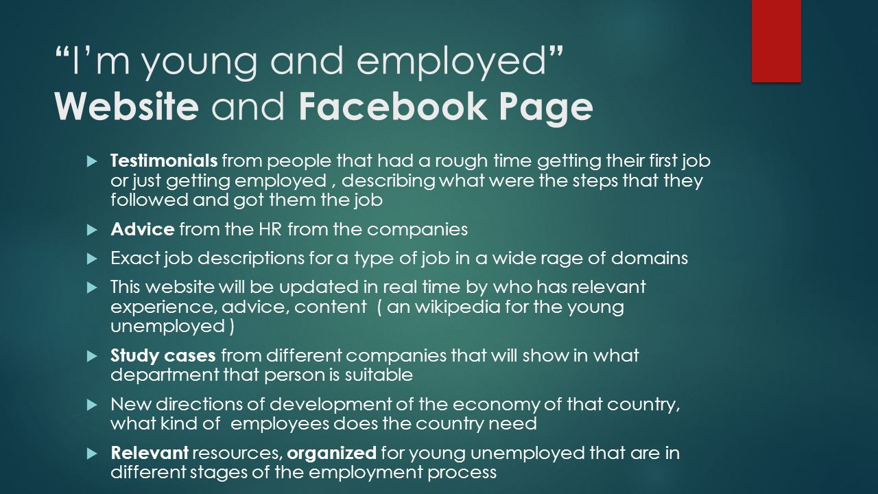 """ I'm young and employed "" Website and Facebook Page  Testimonials from people that had a rough time getting their first job or just getting employed"