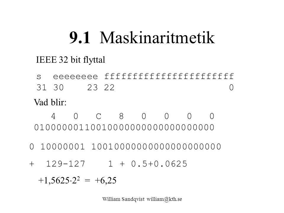 William Sandqvist william@kth.se http://babbage.cs.qc.cuny.edu/IEEE-754/32bit.html