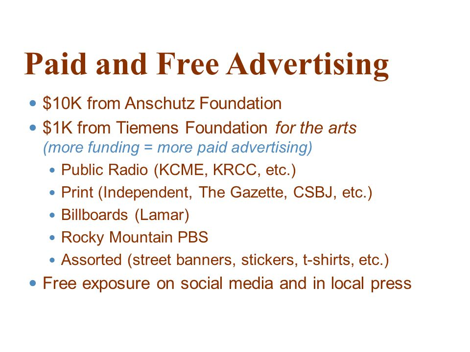 Paid and Free Advertising $10K from Anschutz Foundation $1K from Tiemens Foundation for the arts (more funding = more paid advertising) Public Radio (KCME, KRCC, etc.) Print (Independent, The Gazette, CSBJ, etc.) Billboards (Lamar) Rocky Mountain PBS Assorted (street banners, stickers, t-shirts, etc.) Free exposure on social media and in local press
