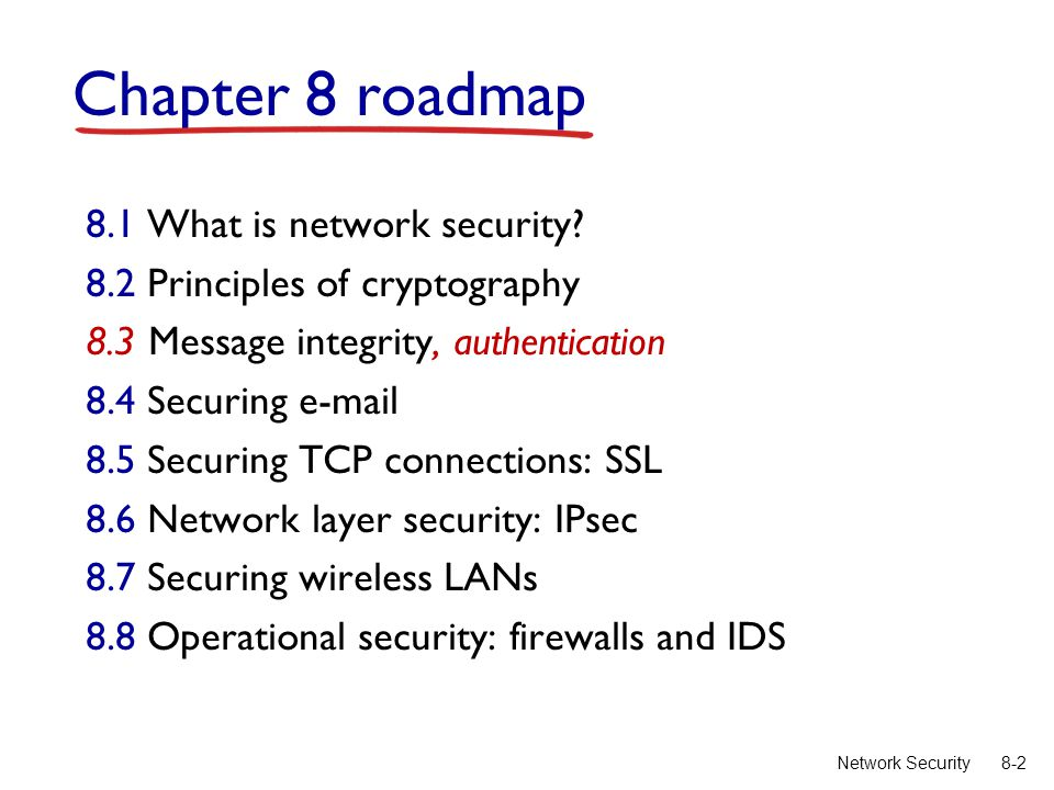 8-2Network Security Chapter 8 roadmap 8.1 What is network security.