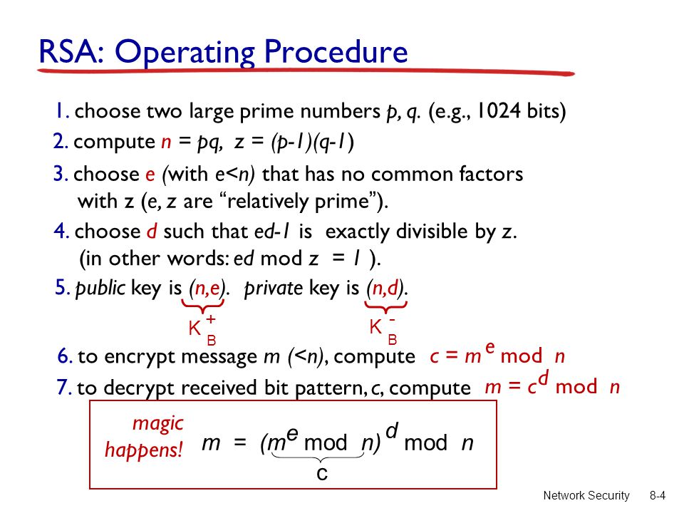 8-4Network Security RSA: Operating Procedure 1. choose two large prime numbers p, q. (e.g., 1024 bits) 2. compute n = pq, z = (p-1)(q-1) 3. choose e (