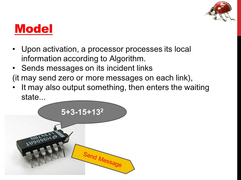 Model Upon activation, a processor processes its local information according to Algorithm.