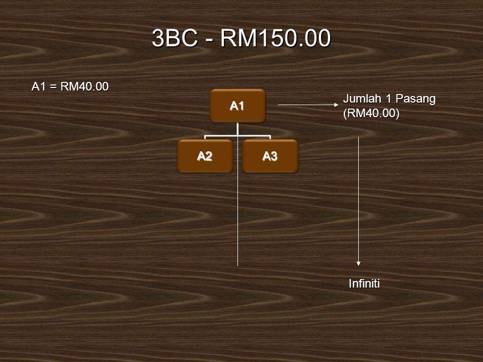 A1A1 A2A2A3A3 3BC - RM150.00 Jumlah 1 Pasang (RM40.00) A1 = RM40.00 A1 = RM40.00 Infiniti
