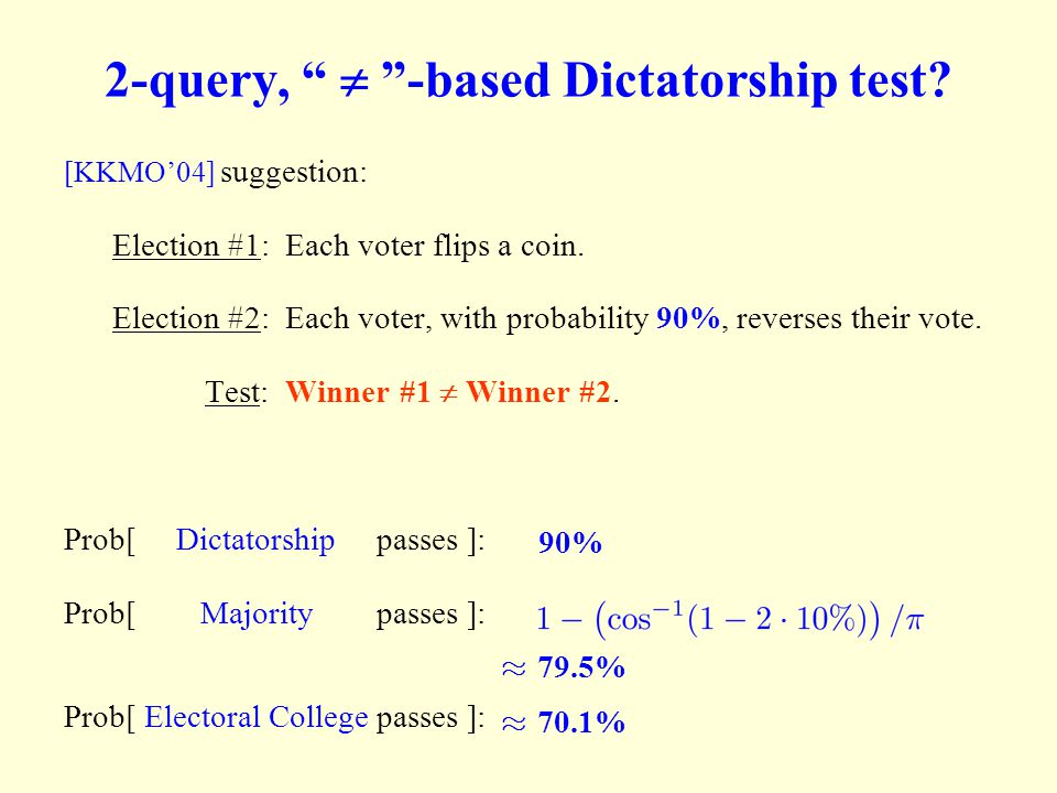 """2-query, """"  """"-based Dictatorship test? [KKMO'04] suggestion: Election #1: Each voter flips a coin. Election #2: Each voter, with probability 90%, re"""