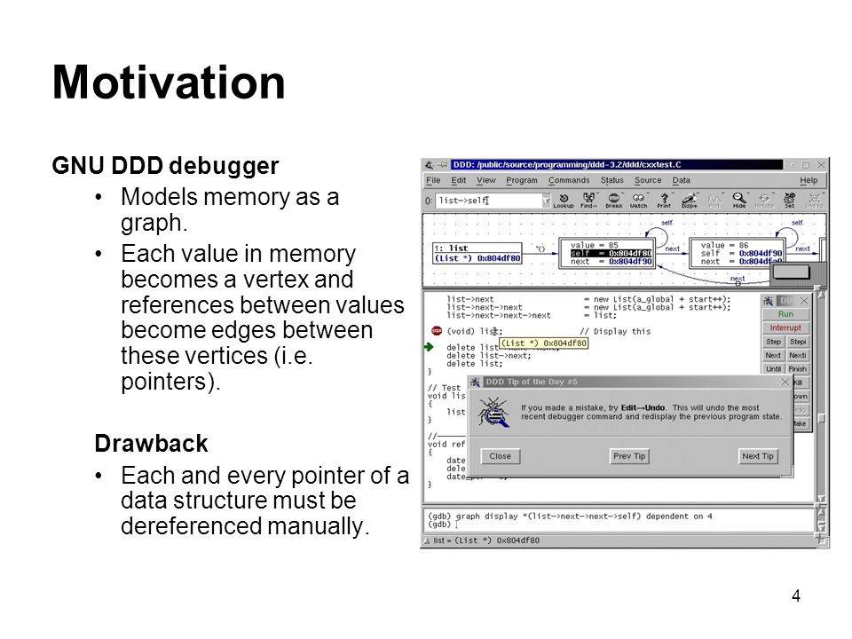 4 Motivation GNU DDD debugger Models memory as a graph.