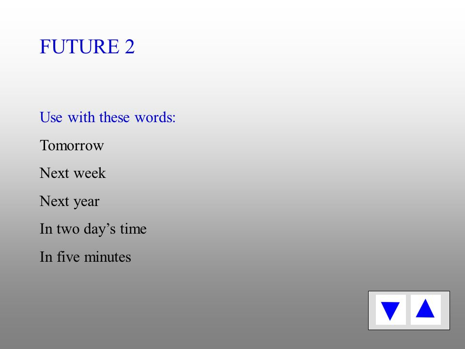 Future tense 2 Am going to + Verb 1 I am going to tidy my bedroom.