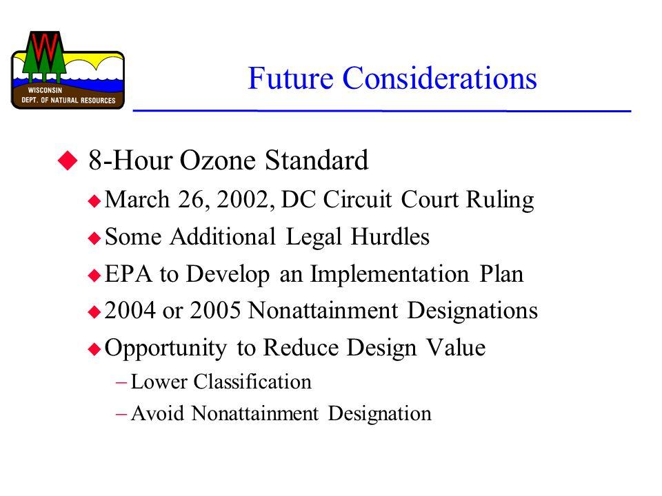 Future Considerations u 8-Hour Ozone Standard u March 26, 2002, DC Circuit Court Ruling u Some Additional Legal Hurdles u EPA to Develop an Implementa