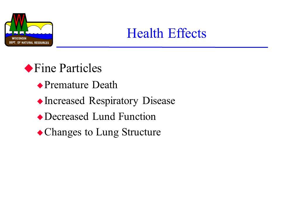 Health Effects u Fine Particles u Premature Death u Increased Respiratory Disease u Decreased Lund Function u Changes to Lung Structure