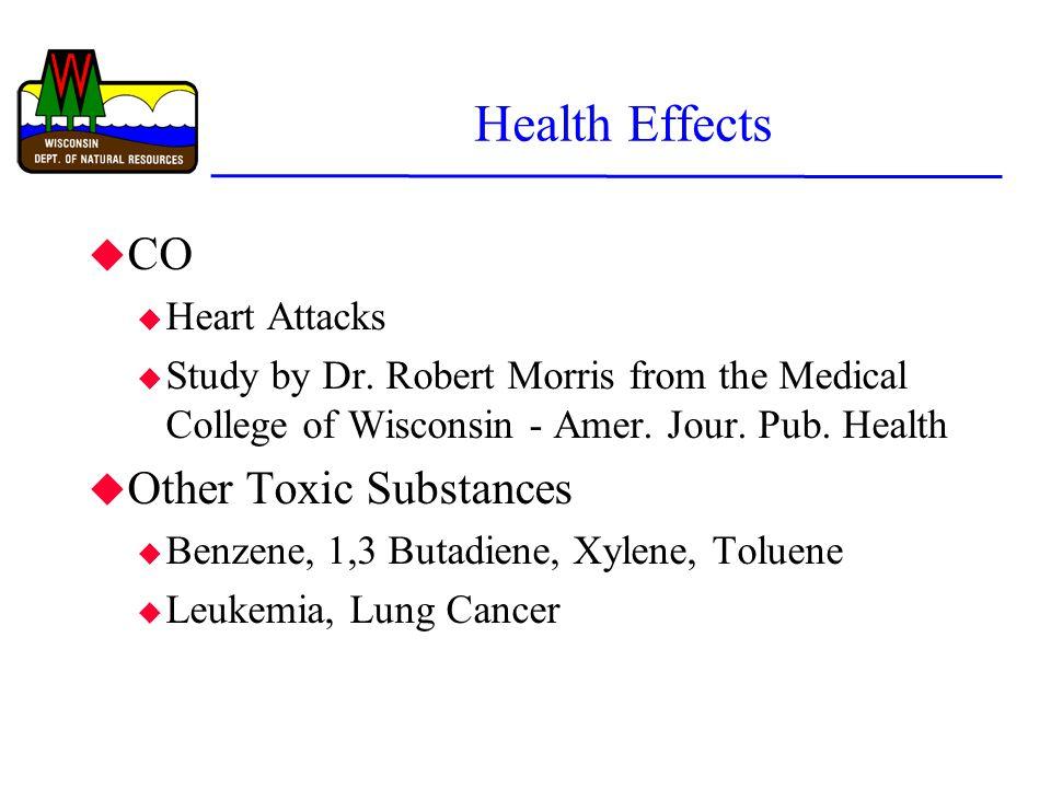 Health Effects u CO u Heart Attacks u Study by Dr.