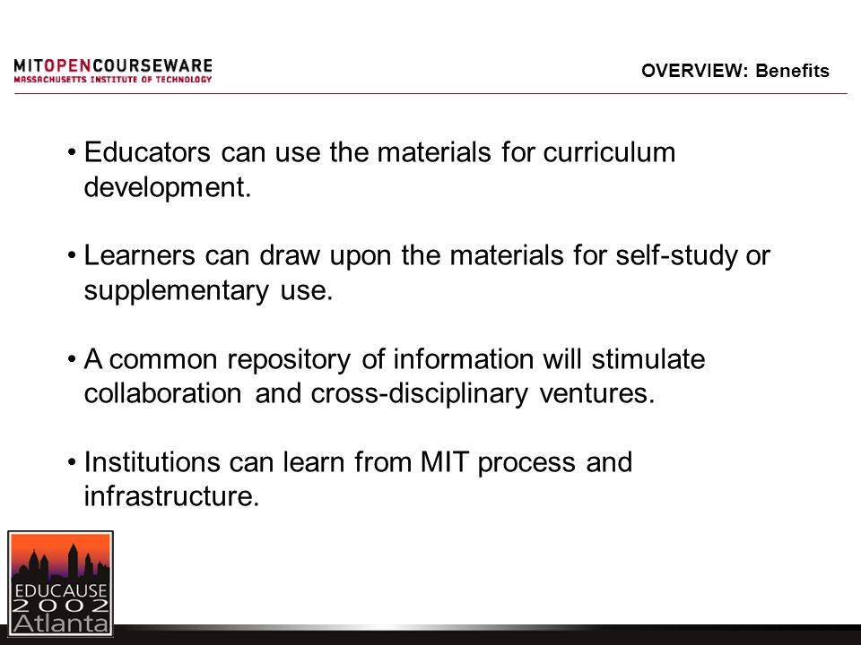 Educators can use the materials for curriculum development. Learners can draw upon the materials for self-study or supplementary use. A common reposit