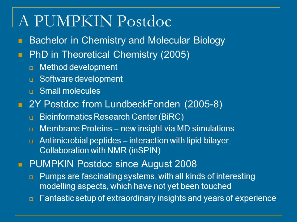 A PUMPKIN Postdoc Bachelor in Chemistry and Molecular Biology PhD in Theoretical Chemistry (2005)  Method development  Software development  Small