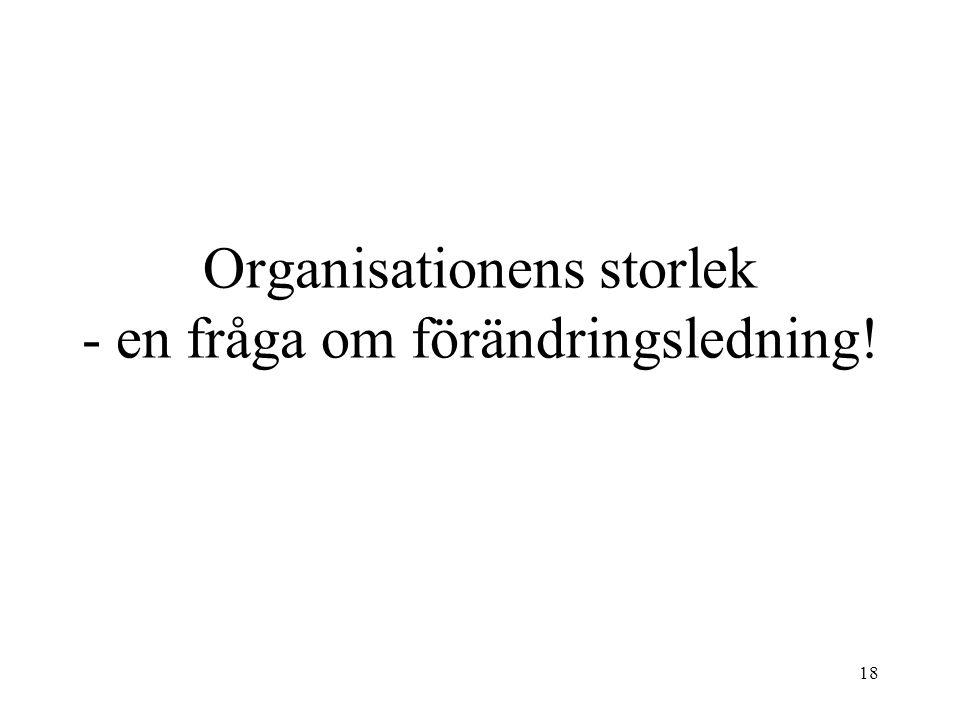18 Organisationens storlek - en fråga om förändringsledning!