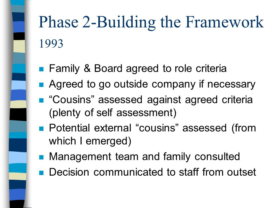 """Phase 2-Building the Framework 1993 n Family & Board agreed to role criteria n Agreed to go outside company if necessary n """"Cousins"""" assessed against"""
