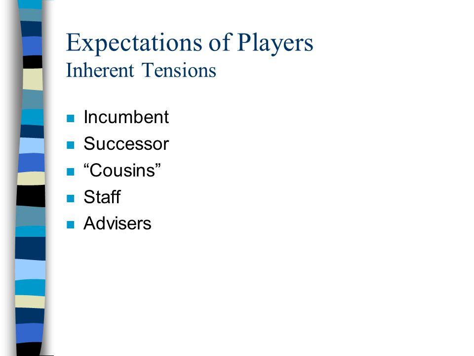 Expectations of Players Inherent Tensions n Incumbent n Successor n Cousins n Staff n Advisers